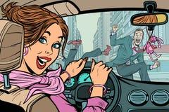 Conducteur joyeux de femme, accident sur la route avec le piéton illustration libre de droits