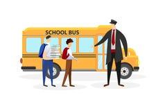 Conducteur Meeting School Boys devant l'autobus jaune illustration de vecteur