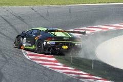 Conducteur Nicolas Gomar Lamborghini Huracan Trofeo superbe Images stock