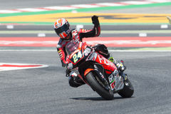 Conducteur SIMONE CORSI ACCÉLÉREZ l'équipe Moto2 Énergie Grand prix de monstre de la Catalogne image stock