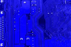 Conductive tracks on the motherboard of Printed Circuit Board close macro.  Stock Photo