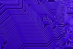 Conductive tracks on the motherboard of Printed Circuit Board close macro Royalty Free Stock Photos