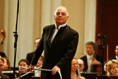 Conductor Barenboim and the Berlin Philharmonic Orchestra Stock Images