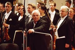 Conductor Barenboim and the Berlin Philharmonic Orchestra Royalty Free Stock Image