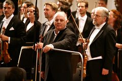 Conductor Barenboim and the Berlin Philharmonic Orchestra Stock Photography