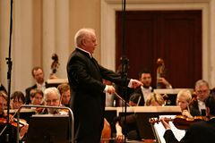 Conductor Barenboim and the Berlin Philharmonic Orchestra Royalty Free Stock Photos