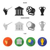 Conductor baton, theater building, searchlight, amphora.Theatre set collection icons in black, flat, monochrome style. Vector symbol stock illustration Royalty Free Stock Photos