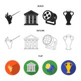 Conductor baton, theater building, searchlight, amphora.Theatre set collection icons in black,flat,outline style vector. Symbol stock illustration Royalty Free Stock Photo