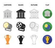 Conductor baton, theater building, searchlight, amphora.Theatre set collection icons in cartoon,black,outline,flat style. Vector symbol stock illustration Vector Illustration