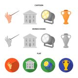 Conductor baton, theater building, searchlight, amphora.Theatre set collection icons in cartoon,flat,monochrome style. Vector symbol stock illustration Stock Illustration