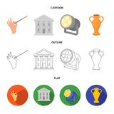 Conductor baton, theater building, searchlight, amphora.Theatre set collection icons in cartoon,outline,flat style. Vector symbol stock illustration Vector Illustration
