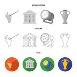 Conductor baton, theater building, searchlight, amphora.Theatre set collection icons in flat,outline,monochrome style. Vector symbol stock illustration Royalty Free Stock Photography