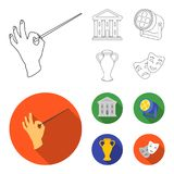 Conductor baton, theater building, searchlight, amphora.Theatre set collection icons in outline,flat style vector symbol. Stock illustration Royalty Free Stock Photo