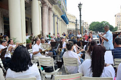 The conductor with brass band in Havana royalty free stock images