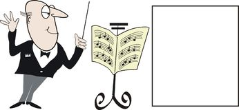 Conductor cartoon. Cartoon of orchestra conductor with music stand Royalty Free Stock Image