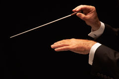Conductor conducting an orchestra. Isolated on black background royalty free stock photography