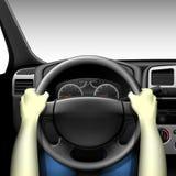 Conductor de coche - interior del coche con el tablero de instrumentos y las manos del conductor Fotos de archivo libres de regalías