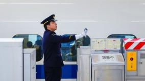 Conductor de tren japonés no identificado Foto de archivo libre de regalías