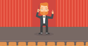 Conductor directing with baton. Royalty Free Stock Photos