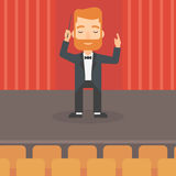 Conductor directing with baton. Royalty Free Stock Images