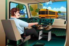 Conductor Driving del autobús escolar un autobús stock de ilustración