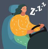 Conductor femenino soñoliento que dormita apagado mientras que conduce libre illustration