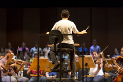 Conductor In Classical Orchestra At Work In Manaus, Brazil Royalty Free Stock Image