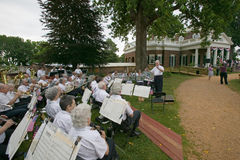 Conductor leading band. For 76 new American citizens at Independence Day Naturalization Ceremony on July 4, 2005 at Thomas Jefferson's home, Monticello Royalty Free Stock Photography
