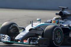 Conductor Lewis Hamilton Team Mercedes Petronas Foto de archivo