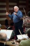 Conductor. Octav Calleya conducts the Craiova Oltenia Philharmonic Orchestra, December 13th, 2012, in Craiova City, Romania Royalty Free Stock Photography