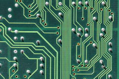 Conductor paths on printed circuit board Royalty Free Stock Photo