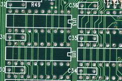 Conductor paths on printed circuit board Royalty Free Stock Photography