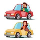 Conductor People Vector Hombre, mujer que se sienta en automóvil moderno Compre un nuevo coche Concepto de la escuela de conducci ilustración del vector