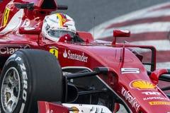 Conductor Sebastian Vettel Team Ferrari Fotografía de archivo