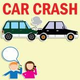 Conductores que llaman seguro después de accidente de tráfico Imagenes de archivo