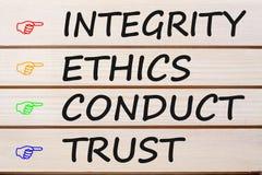 Conduite d'éthique d'intégrité et concept de confiance photographie stock libre de droits
