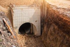 Conduite d'eau souterraine de construction photo libre de droits