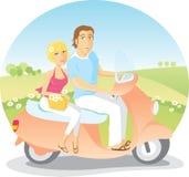 Conduite de scooter dans le pays Image stock