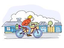 Conduite de vélo dans le voisinage Image libre de droits