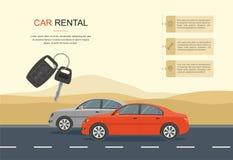 Conduite rouge sur une route dans le désert l'information, voiture de location et bannière automatique de crédit-bail Photographie stock libre de droits