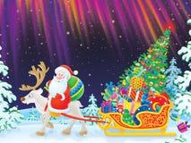 Conduites de Santa sur le renne frottant l'étrier illustration stock