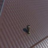 Conduits d'air sur le toit en métal Le toit de la feuille ondulée Toiture de forme onduleuse de profil en métal Photo stock