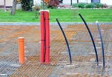 Conduits in House Foundations. Plastic Conduits Installed in new Building House Foundations. Water, Sewer and Electric Conduits stock images