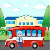Condutor de ônibus e ônibus do vermelho Fotos de Stock Royalty Free