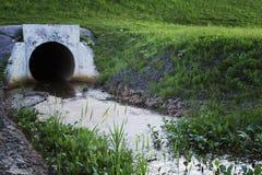 Conduttura concreta di drenaggio che vuota spreco sopra all'erba fotografia stock libera da diritti