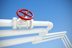 Conduttura industriale con gas o petrolio Fotografia Stock