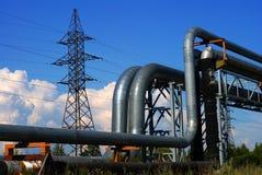 Condutture industriali e cavi elettrici Fotografia Stock Libera da Diritti