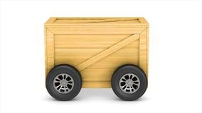 Conduza a caixa da carga de transporte com a roda no fundo branco 3d isolados rendem filme