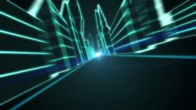 Conduzca a través de la ciudad futura del holograma