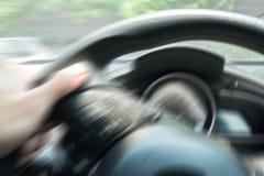 Conduzindo o carro com movimento do borrão Imagens de Stock Royalty Free